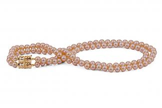 Peach Double Strands Freshwater Pearl Necklace 7.00 - 7.50mm