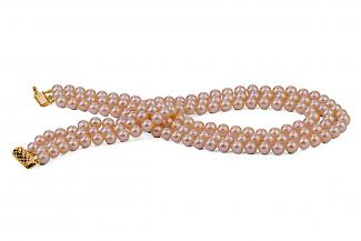 Peach Triple Strands Freshwater Pearl Necklace 8.00 - 8.50mm