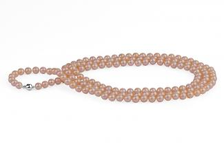 Peach Freshwater Pearl Necklace 50 inch 7.00 - 7.50mm