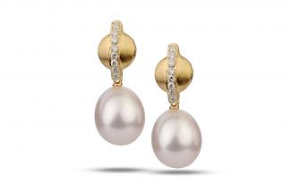 White Freshwater Diamond Round Pearl Earrings 8.00 - 8.50mm