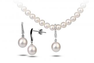 White Freshwater Aphrodite Pearl Set 8.00 - 8.50mm