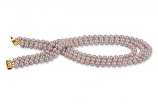 Lavender Triple Strands Freshwater Pearl Necklace 8.00 - 8.50mm