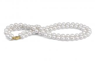 White Double Strand Baroque Akoya Pearl Necklace 8.50 - 9.00mm