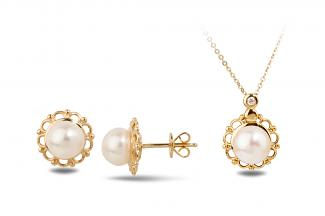 White Freshwater YG Flora Pearl Set 6.50 - 7.00mm