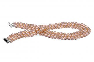 Peach Triple Strands Freshwater Pearl Necklace 6.00 - 6.50mm
