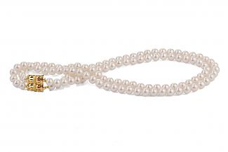 White Double Strands Freshwater Pearl Necklace 8.00 - 8.50mm