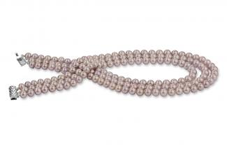 Lavender Triple Strands Freshwater Pearl Necklace 7.00 - 7.50mm