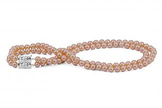 Peach Double Strands Freshwater Pearl Necklace 9.00 - 9.50mm