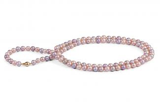 Multi-coloured Freshwater Pearl Necklace 33 inch 7.00 - 7.50mm