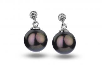 Black Freshwater Diamond Bezel Dangling Pearl Earrings 8.00 - 8.50mm