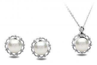 White Freshwater WG Flora Pearl Set 6.50 - 7.00mm