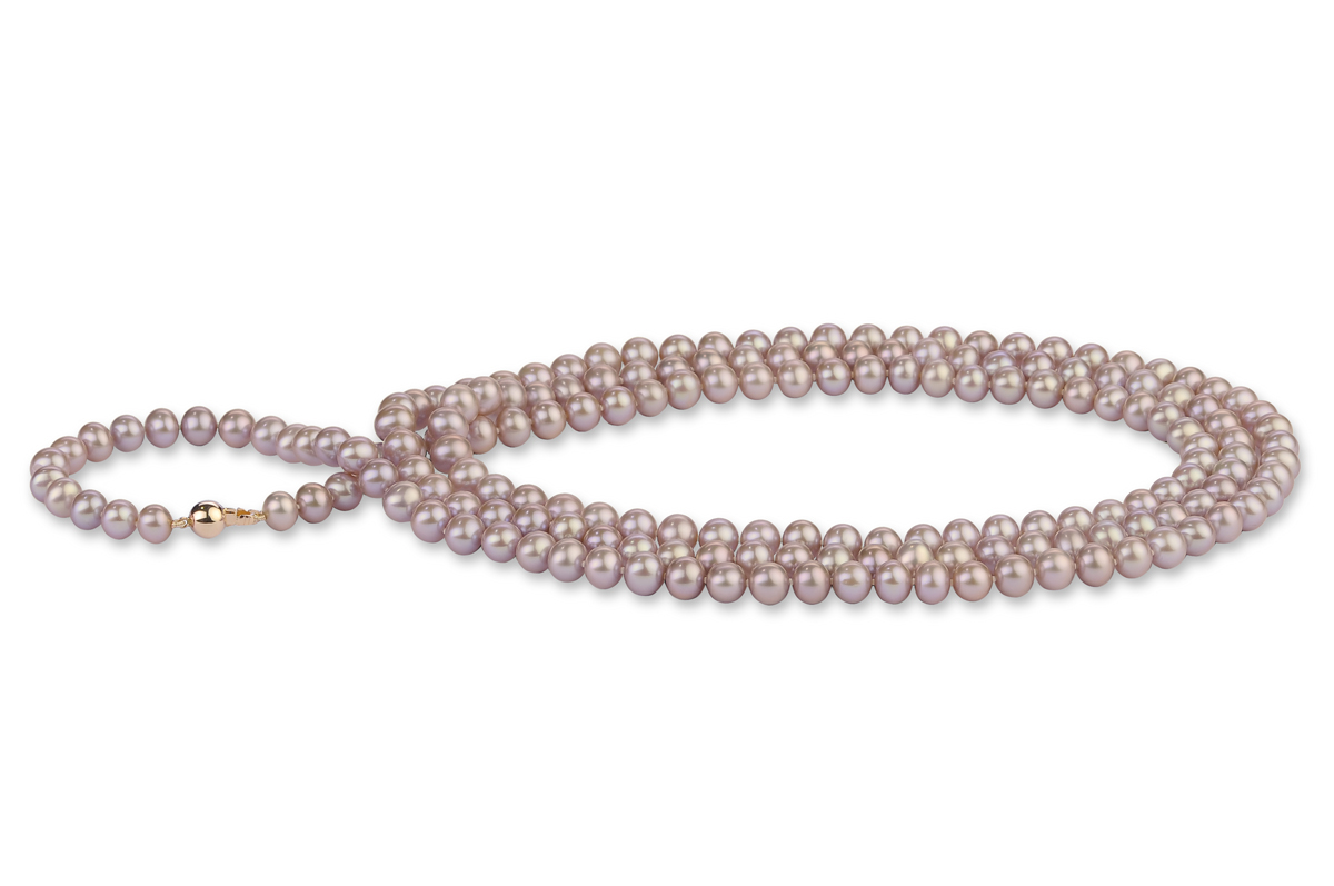 Lavender Freshwater Pearl Necklace 50 inch 7.00 - 7.50mm
