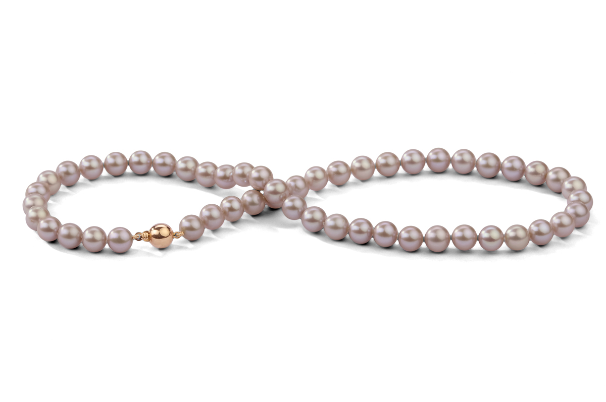 Lavender Freshwater Pearl Necklace 8.00 - 8.50mm