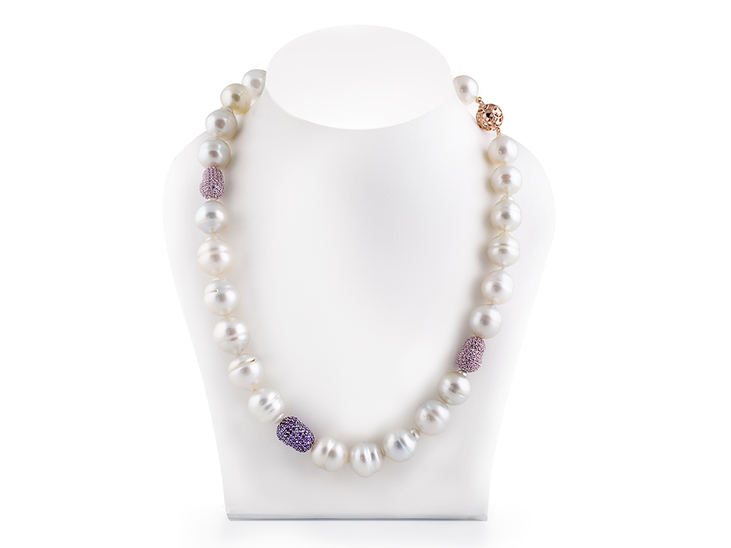 White Circle South Sea Baroque Pearl Necklace 13 00 15 00mm