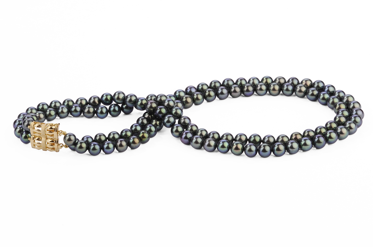 Black Double Strands Freshwater Pearl Necklace 7.00 - 7.50mm