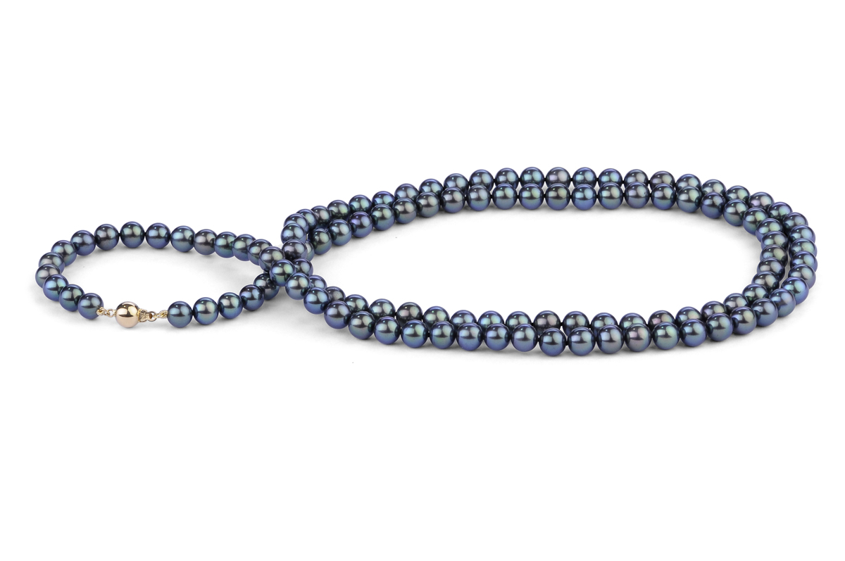 Black Freshwater Pearl Necklace 33 inch 7.00 - 7.50mm