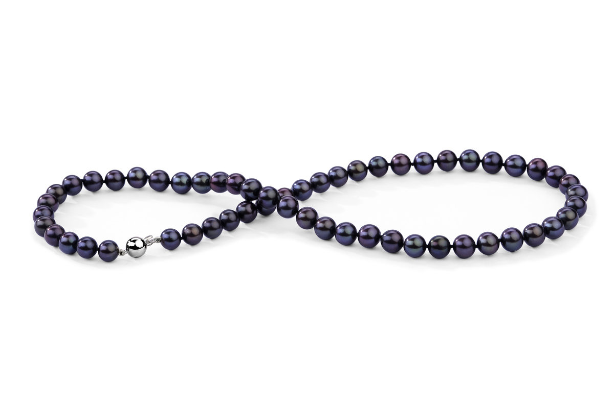 Black Freshwater Pearl Necklace 7.00 - 7.50mm