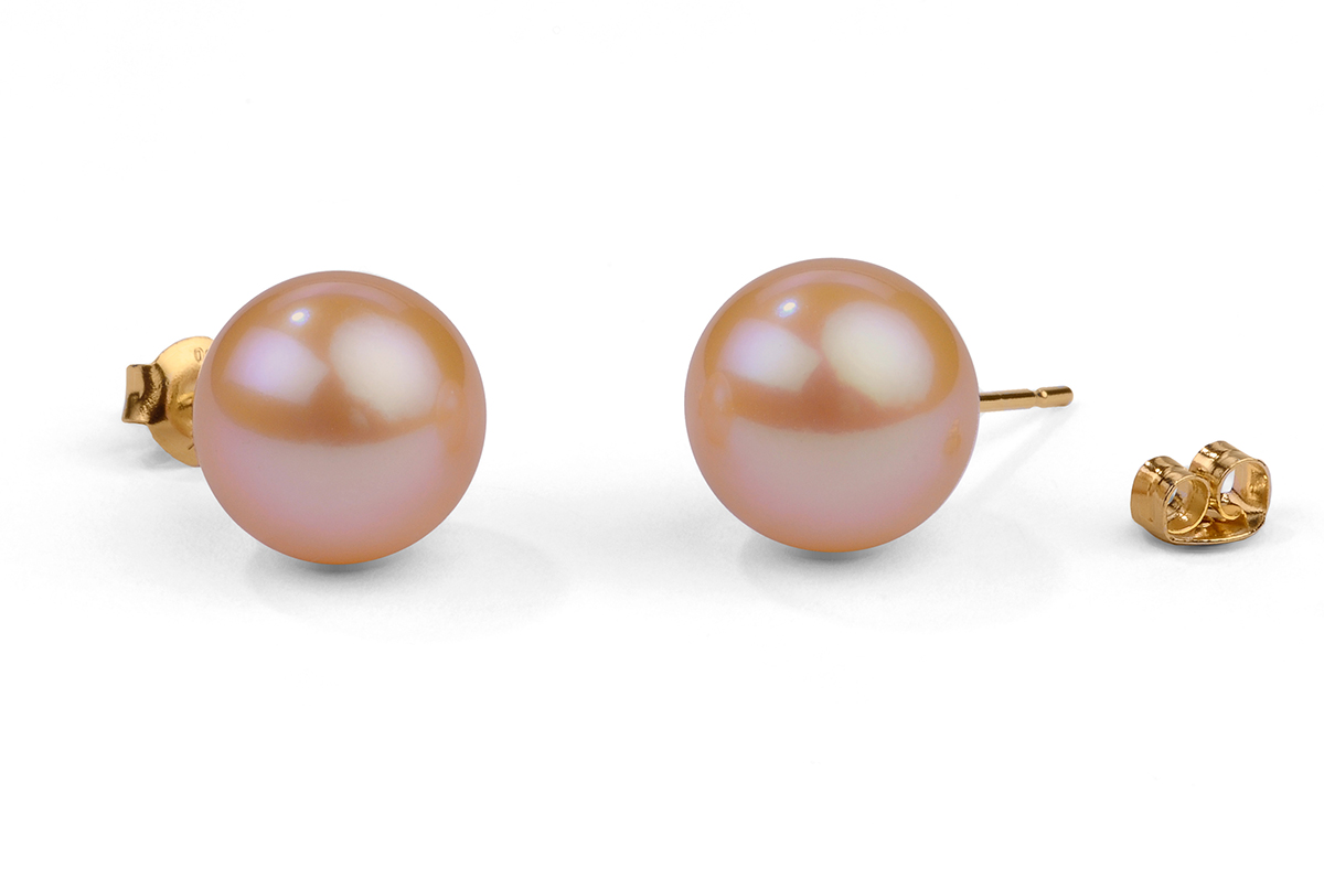 Peach Freshwater Pearl Ear Studs 10.00 - 10.50mm