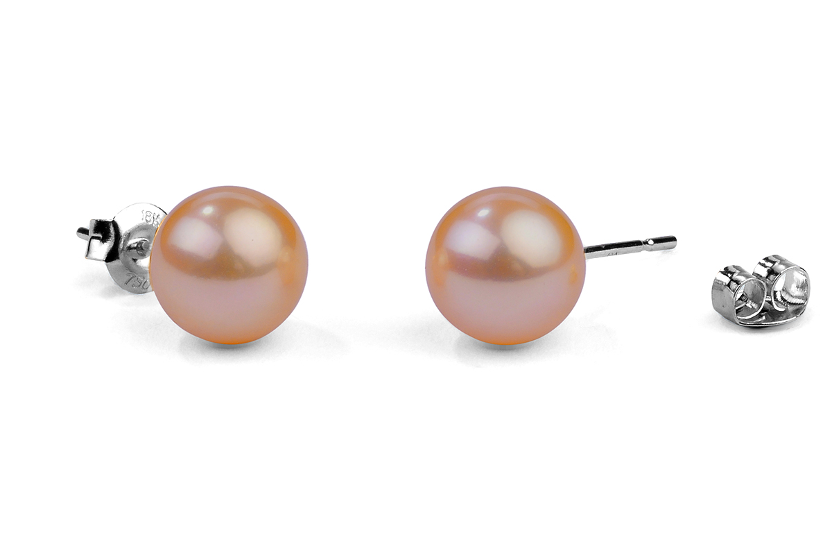 Peach Freshwater Pearl Ear Studs 7.00 - 7.50mm