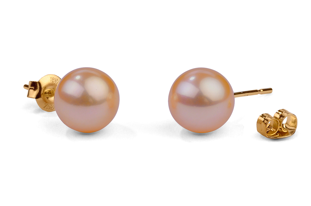 Peach Freshwater Pearl Ear Studs 8.00 - 8.50mm