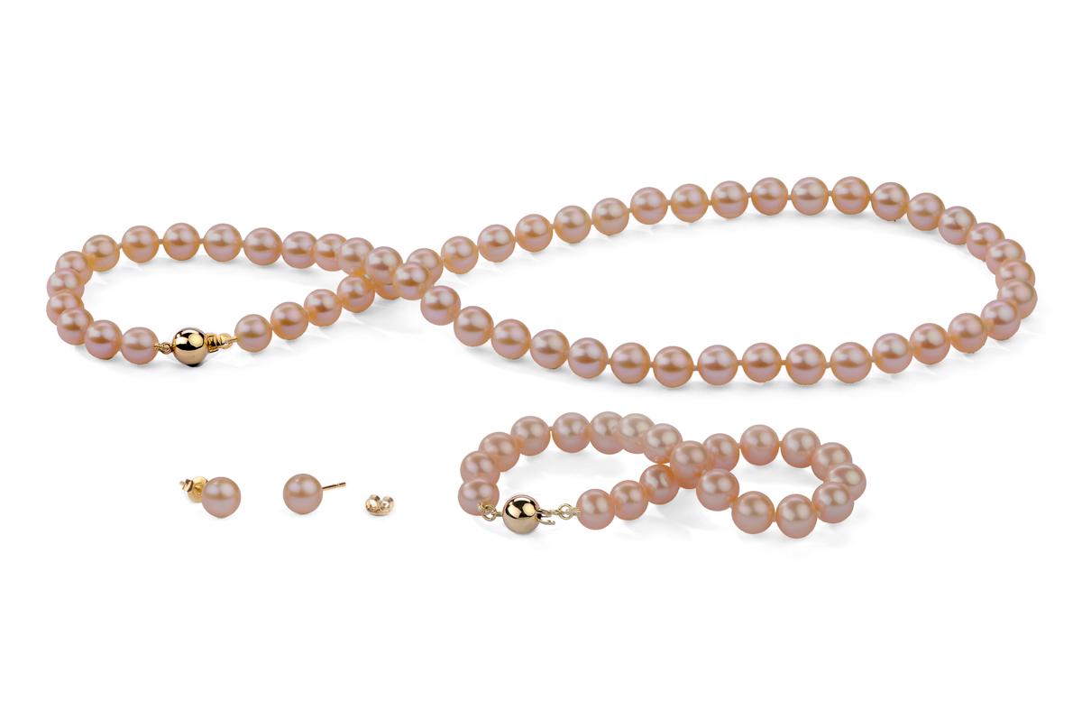 Peach Freshwater Pearl Set