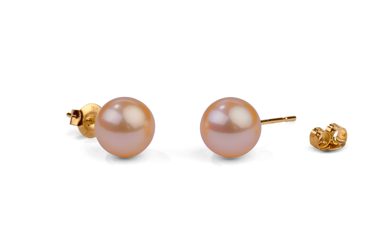 Peach Freshwater Pearl Ear Studs 6.00 - 6.50mm