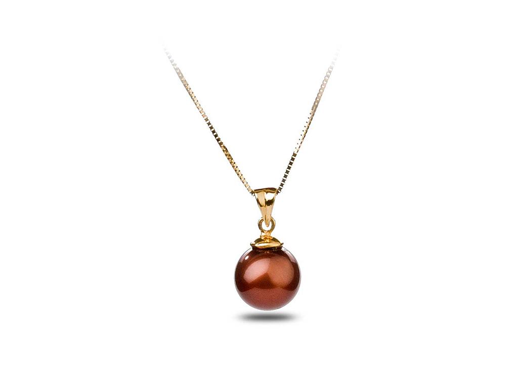 chocolate freshwater pearl pendant