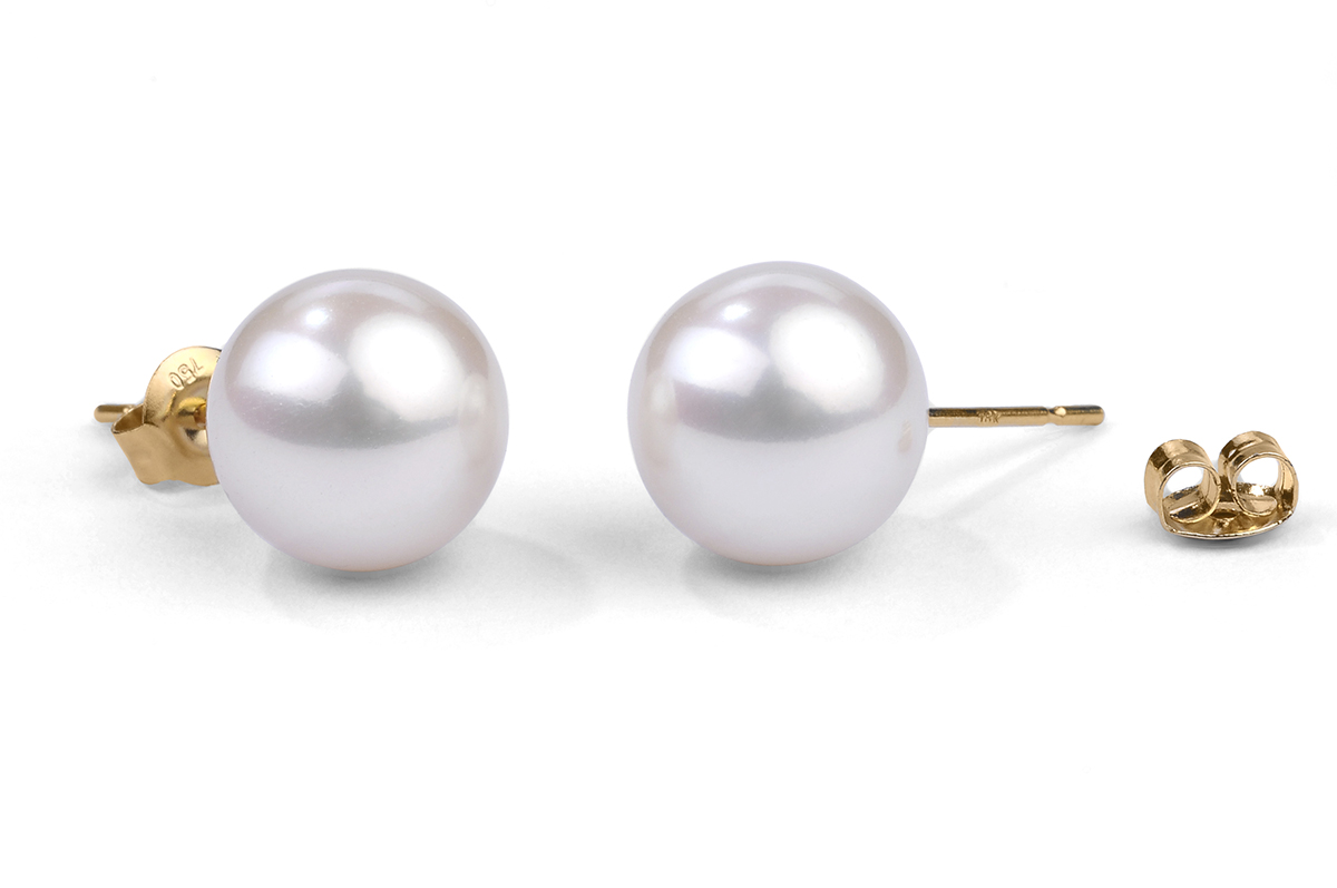 White Freshwater Pearl Ear Studs 11.00 - 11.50mm