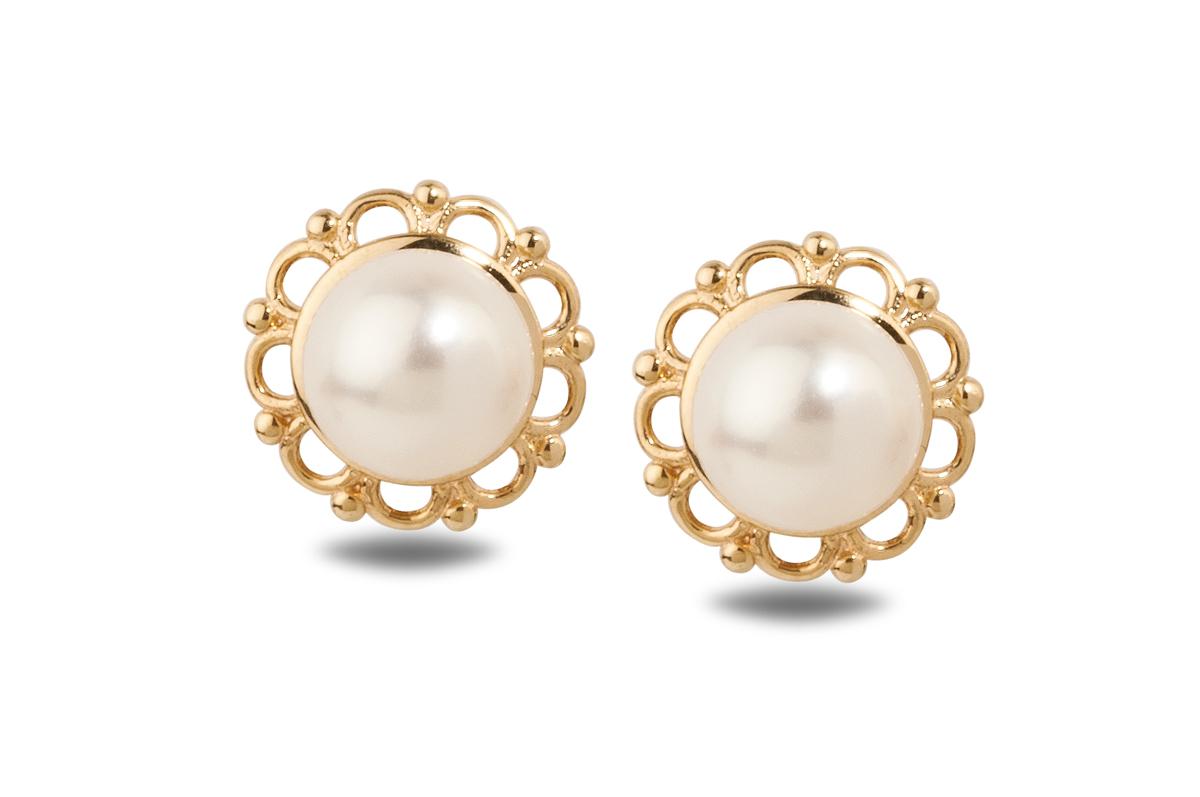 White Freshwater YG Flora Pearl Earrings 6.50 - 7.00mm