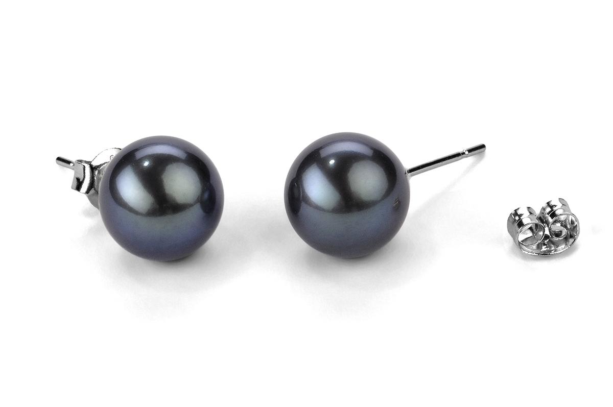 Black Freshwater Pearl Ear Studs 8.00 - 8.50mm