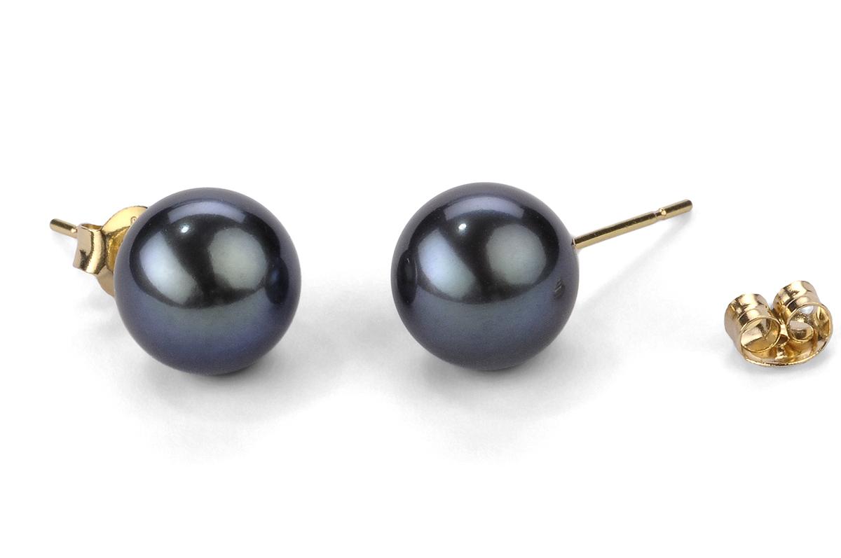 Black Freshwater Pearl Ear Studs 9.00 - 9.50mm