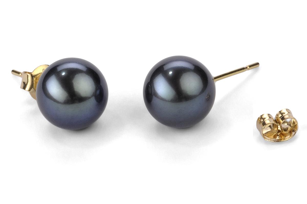 Black Freshwater Pearl Ear Studs 10.00 - 10.50mm