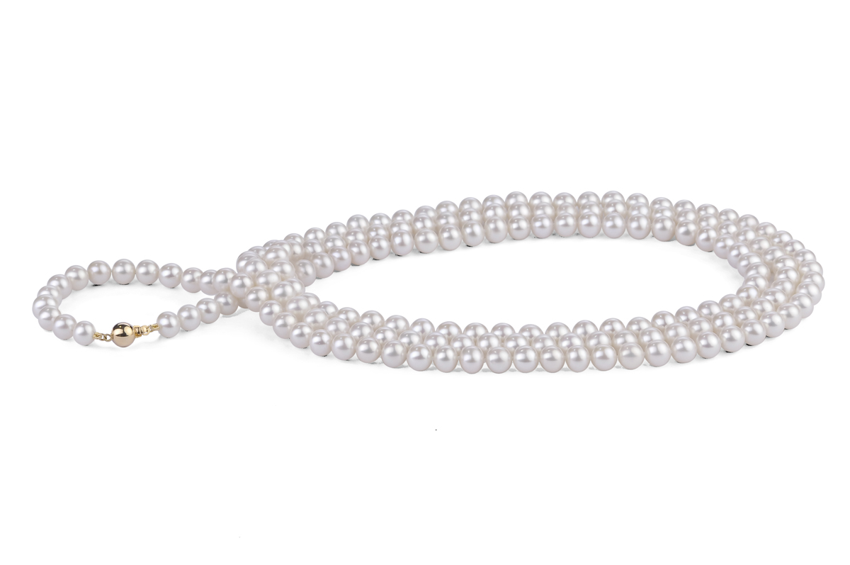 White Freshwater Pearl Necklace 50 inch 6.00 - 6.50mm