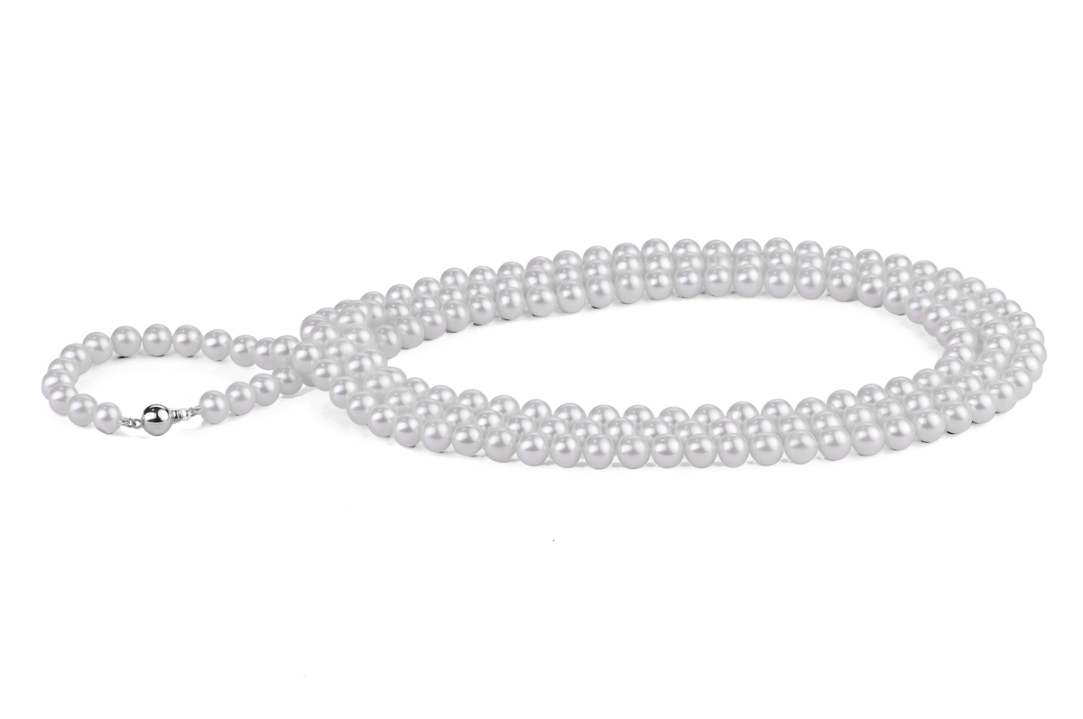 White Freshwater Pearl Necklace 50 inch 7.00 - 7.50mm