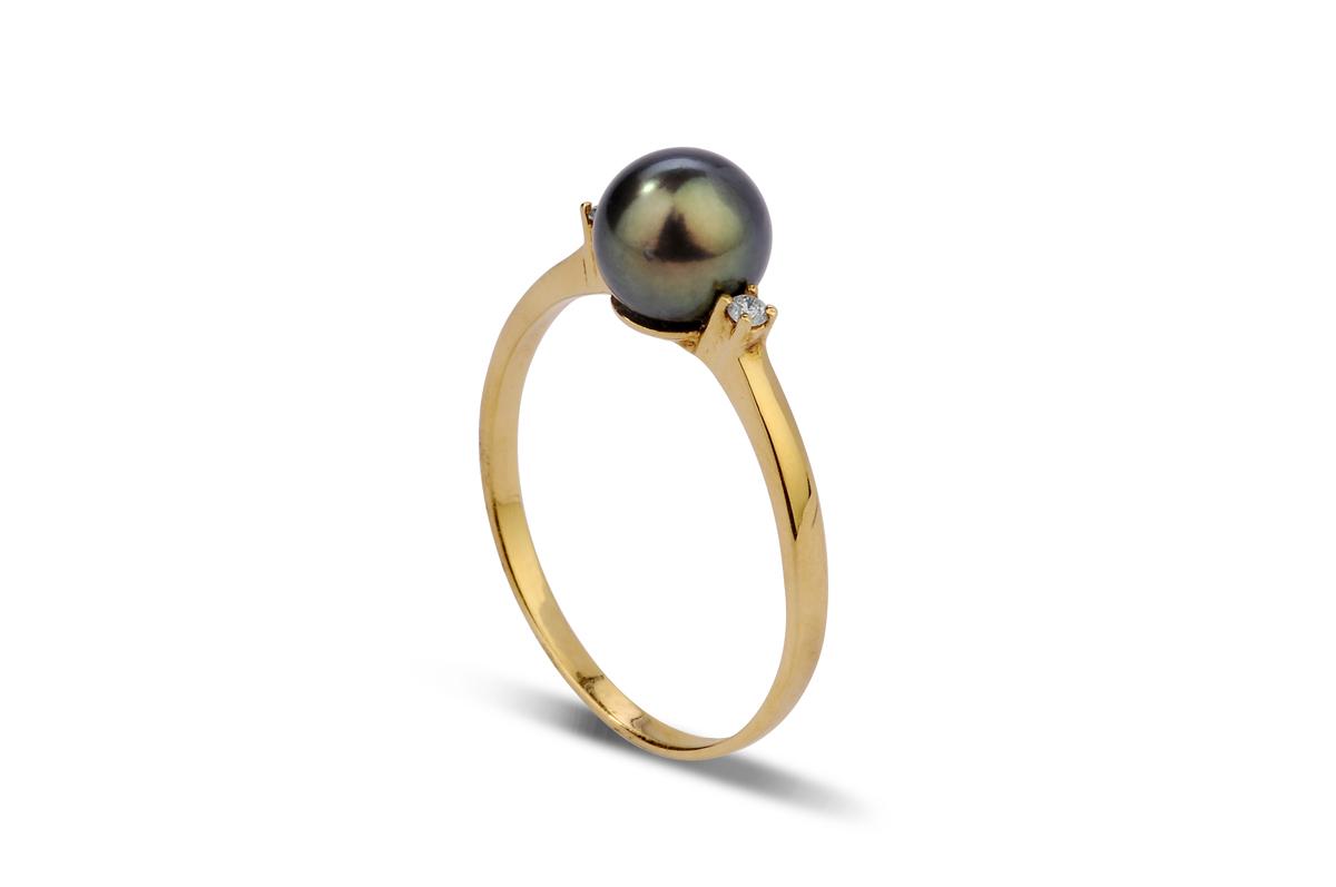 Black Freshwater Pearl Ring 6.50 - 7.00mm