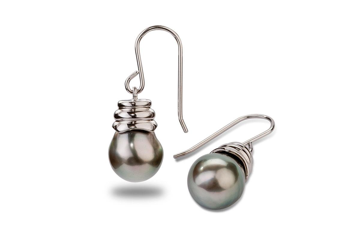 Noir Tahitian Pearl Earrings 10.00 - 11.00 mm