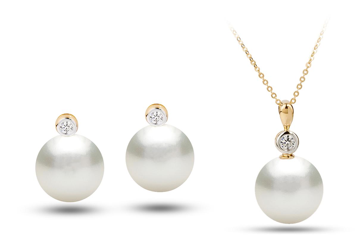 White South Sea Diana Pearl Set 11001150mm