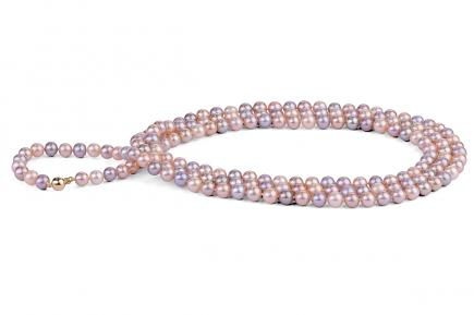 Multi-coloured Freshwater Pearl Necklace 50 inch 6.00 - 6.50mm