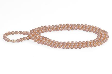 Peach Freshwater Pearl Necklace 50 inch 8.00 - 8.50mm