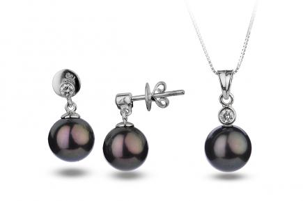 Black Freshwater Diamond Bezel Pearl Set 8.00 - 8.50mm
