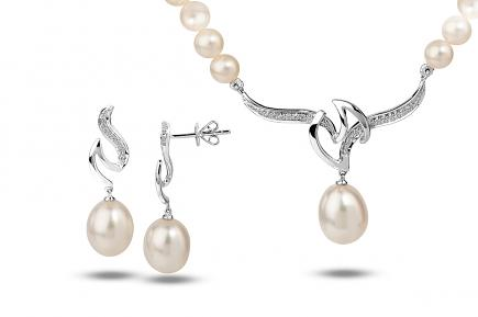 White Freshwater WG Dione Pearl Set 9.00 - 10.00mm