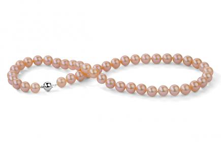 Peach Freshwater Pearl Necklace 9.00 - 9.50mm