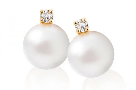White Freshwater Diamond 4 Prong Pearl Earrings 8.00 - 8.50mm