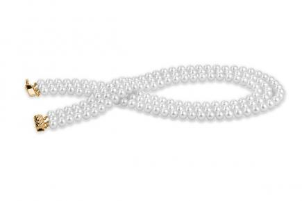 White Triple Strands Freshwater Pearl Necklace 8.00 - 8.50mm