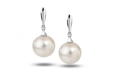 White South Sea WG Selena Pearl Earrings 12.00-13.00mm