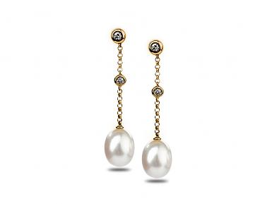White Freshwater Eclaire Pearl Earrings