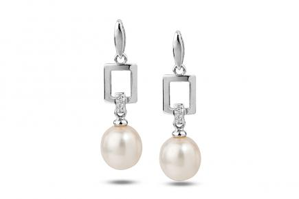 White Freshwater WG Candia Pearl Earrings 7.00 - 7.50mm