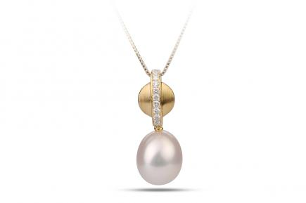 White Freshwater Diamond Round  Pearl Pendant 8.00 - 8.50mm