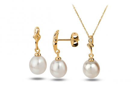 White Freshwater YG Estrid Pearl Set 8.00 - 8.50mm