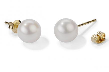 White Freshwater Pearl Ear Studs 9.00 - 9.50mm